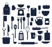 Insieme delle cose della cucina che cucinano la siluetta delle icone immagine stock