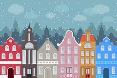 Insieme delle costruzioni variopinte del fumetto di stile europeo nell'inverno Case disegnate a mano isolate per la vostra proget Immagine Stock Libera da Diritti