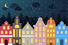 Insieme delle costruzioni variopinte del fumetto di stile europeo nell'inverno Case disegnate a mano isolate per la vostra proget Immagine Stock