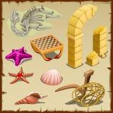 Insieme delle creature del mare, degli oggetti antichi e dello scheletro illustrazione di stock