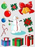 Insieme delle decorazioni anno di nuovo e di natale Fotografia Stock