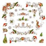 Insieme delle decorazioni decorate e dei divisori della pagina di Natale Immagine Stock