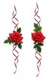Insieme delle decorazioni di seta del fiore della rosa rossa e dei nastri Fotografia Stock Libera da Diritti