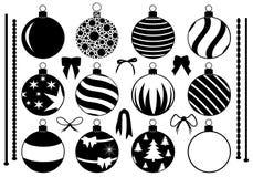 Insieme delle decorazioni differenti di Natale Immagini Stock