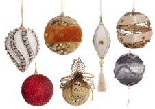 Insieme delle decorazioni festive d'annata di Natale isolate su bianco Fotografia Stock