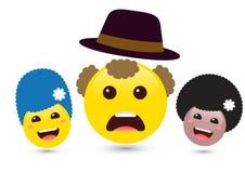 Insieme delle donne sorridenti del volume e del emoji dell'uomo giallo con il cappello Vecto Fotografie Stock