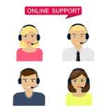Insieme delle donne, telemarketer degli uomini, operatore di call center, hot line, supporto online Fotografia Stock