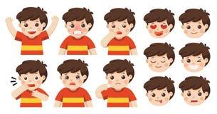 Insieme delle emozioni adorabili del facial del ragazzo illustrazione vettoriale