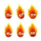 Insieme delle emozioni del fronte del ` s del fuoco Fotografia Stock
