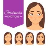 Insieme delle emozioni di tristezza illustrazione vettoriale