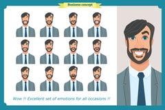 Insieme delle emozioni facciali maschii Carattere dell'uomo di affari con differenti espressioni Vettore piano illustrazione vettoriale