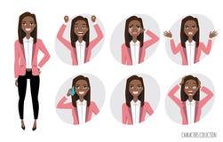 Insieme delle emozioni per la donna americana di affari dell'africano nero royalty illustrazione gratis