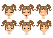 Insieme delle espressioni dell'avatar della ragazza dell'adolescente Fotografie Stock