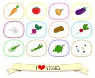 Insieme delle etichette con le verdure Illustrazione di vettore Fotografie Stock