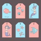 Insieme delle etichette con sirene ed animali marini illustrazione vettoriale
