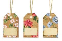 Insieme delle etichette d'annata con i fiori Fotografie Stock Libere da Diritti