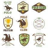 Insieme delle etichette d'annata del club di polo del cavallo royalty illustrazione gratis