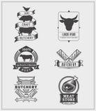 Insieme delle etichette d'annata, del logos e dei distintivi del manzo illustrazione di stock