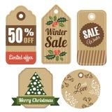 Insieme delle etichette d'annata del regalo e di vendita di inverno di natale, etichette, Immagine Stock