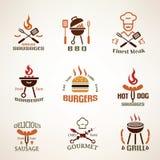 Insieme delle etichette d'annata della griglia e del barbecue Fotografie Stock