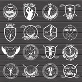 Insieme delle etichette d'annata di golf, distintivi illustrazione vettoriale
