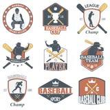 Insieme delle etichette d'annata e dei distintivi di baseball illustrazione vettoriale