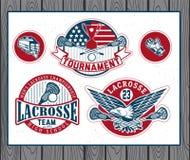 Insieme delle etichette d'annata e dei distintivi di lacrosse Immagini Stock