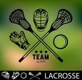 Insieme delle etichette d'annata e dei distintivi di lacrosse Fotografia Stock Libera da Diritti