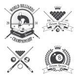 Insieme delle etichette degli emblemi del biliardo illustrazione di stock