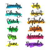 Insieme delle etichette dei mesi dell'anno royalty illustrazione gratis