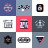 Insieme delle etichette del negozio di barbiere di vettore, emblemi ed elementi di progettazione Fotografie Stock Libere da Diritti