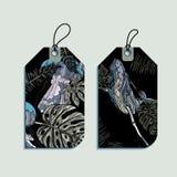 Insieme delle etichette del regalo della balena e delle meduse Immagine Stock Libera da Diritti