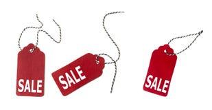 Insieme delle etichette del regalo di colore isolate su fondo bianco Etichette di vendita Fotografia Stock