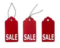 Insieme delle etichette del regalo di colore isolate su fondo bianco Etichette di vendita Fotografia Stock Libera da Diritti
