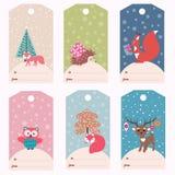 Insieme delle etichette del regalo di inverno Fotografie Stock