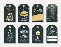 Insieme delle etichette del regalo di Natale di tiraggio della mano Fotografia Stock