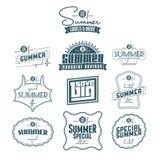 Insieme delle etichette dell'annata riferite estate Fotografia Stock Libera da Diritti