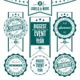 Insieme delle etichette dell'annata riferite eventi di estate Fotografie Stock Libere da Diritti