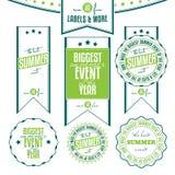 Insieme delle etichette dell'annata riferite eventi di estate Fotografia Stock