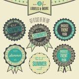 Insieme delle etichette dell'annata riferite eventi di estate Immagini Stock
