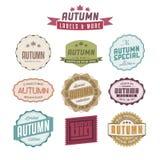 Insieme delle etichette dell'annata riferite vendite di autunno Fotografia Stock