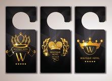 Insieme delle etichette della porta dell'hotel di boutique dell'oro Fotografia Stock Libera da Diritti