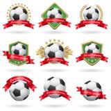 Insieme delle etichette di calcio illustrazione di stock