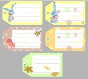 Insieme delle etichette di clipart con i conigli svegli del bambino, animali del bambino, tema di autunno Immagini Stock