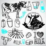 Insieme delle etichette di latteria e del latte, Illustrazione di Stock