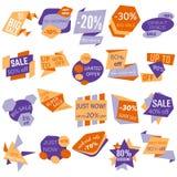 Insieme delle etichette di sconto di vendita, etichette, emblemi Raccolta di web degli autoadesivi e dei distintivi da vendere Fotografia Stock