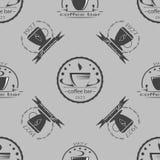 Insieme delle etichette di tema di monocromio del caffè d'annata Immagini Stock