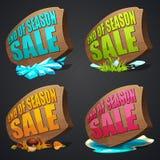 Insieme delle etichette di vendite di stagione fotografie stock libere da diritti