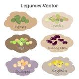 Insieme delle etichette differenti dei legumi del fumetto isolate su fondo bianco Rene, soia, fagiolini, piselli, ceci, lenticchi illustrazione di stock