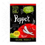 Insieme delle etichette disegnate a mano alimento, spezie Immagini Stock